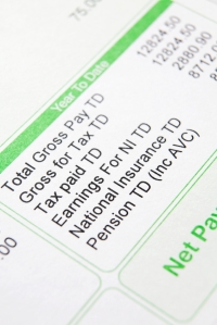 Close up of payslip